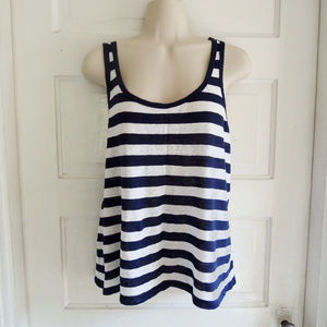 J. Crew Scoop Neck Striped Linen Tank Top XL